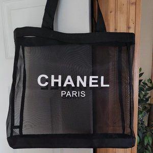 New Chanel Peakaboo  black beach shopping tote bag